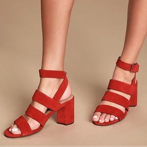 Seychelles red suede strappy sandals NWOB
